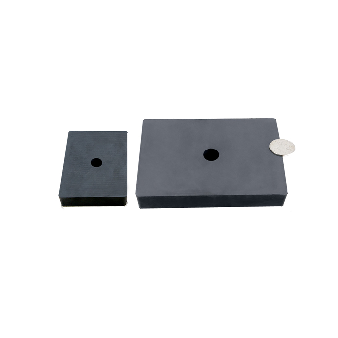 Square ferrite magnet with a hole in the middle
