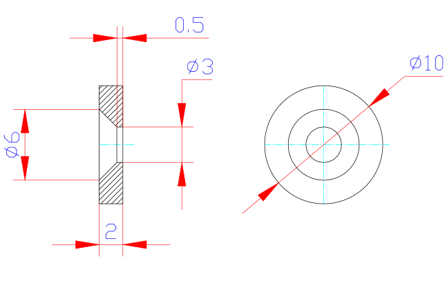 drawing of countersunk hole magnet